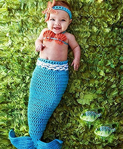 [Pinbo Baby Crochet Knitted Photo Photography Prop Mermaid Tail Romper Outfit] (Newborn Mermaid Costumes)
