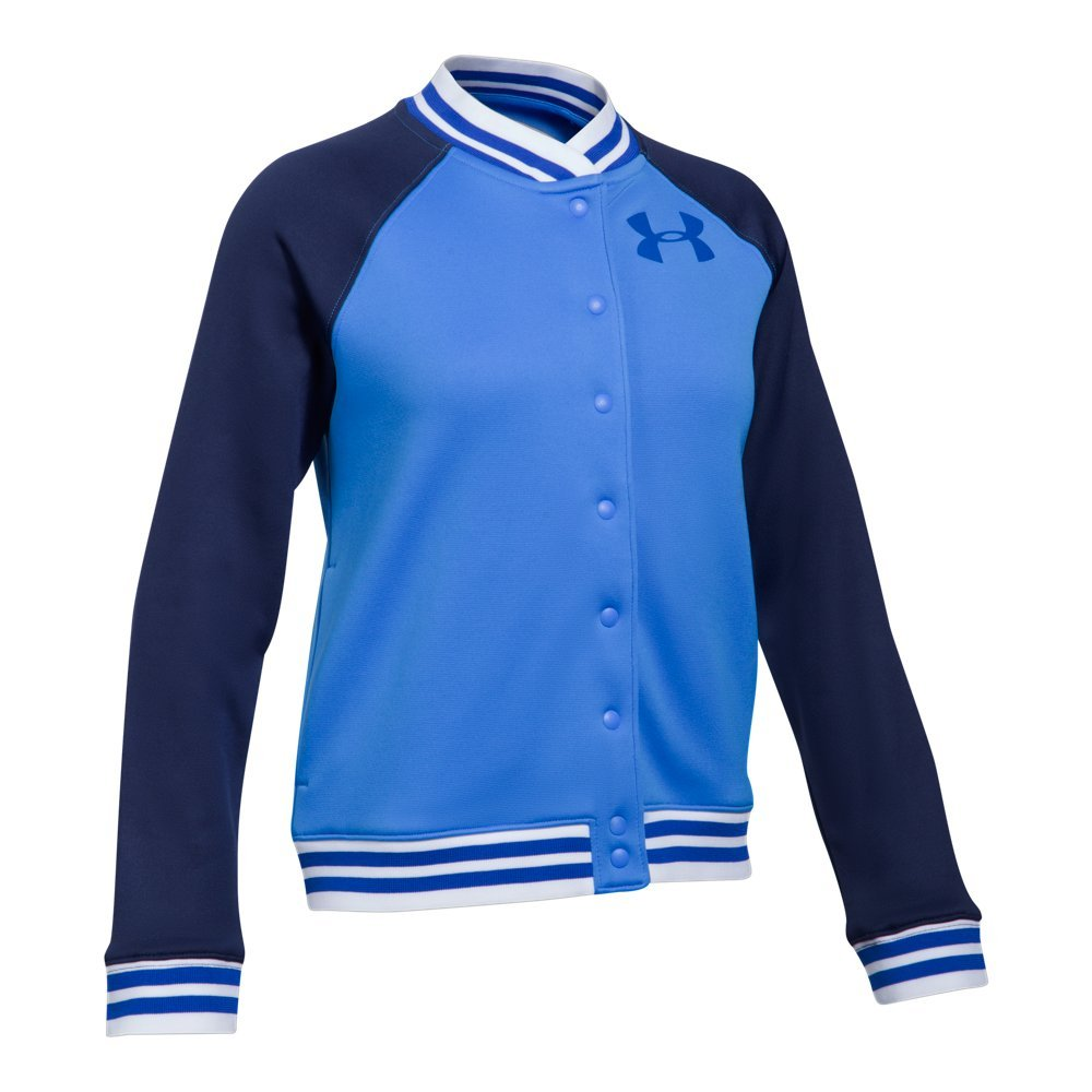 Under Armour Girls' Armour Fleece Graphic Bomber,Mako Blue /Lapis Blue, Youth Small