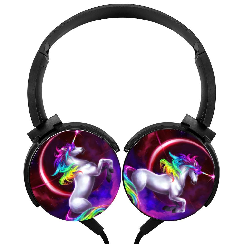 Rainbow Unicorn Wired Headsets Headphones Axis Rotation Hi-Fi 3D DIY Customized Heavy Bass Stereo Headsets Headsets