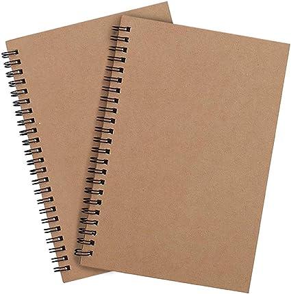 A4 Cuaderno Espiral Cuadriculas 5 mm, Pack de 2 Marrón Cubierta de ...