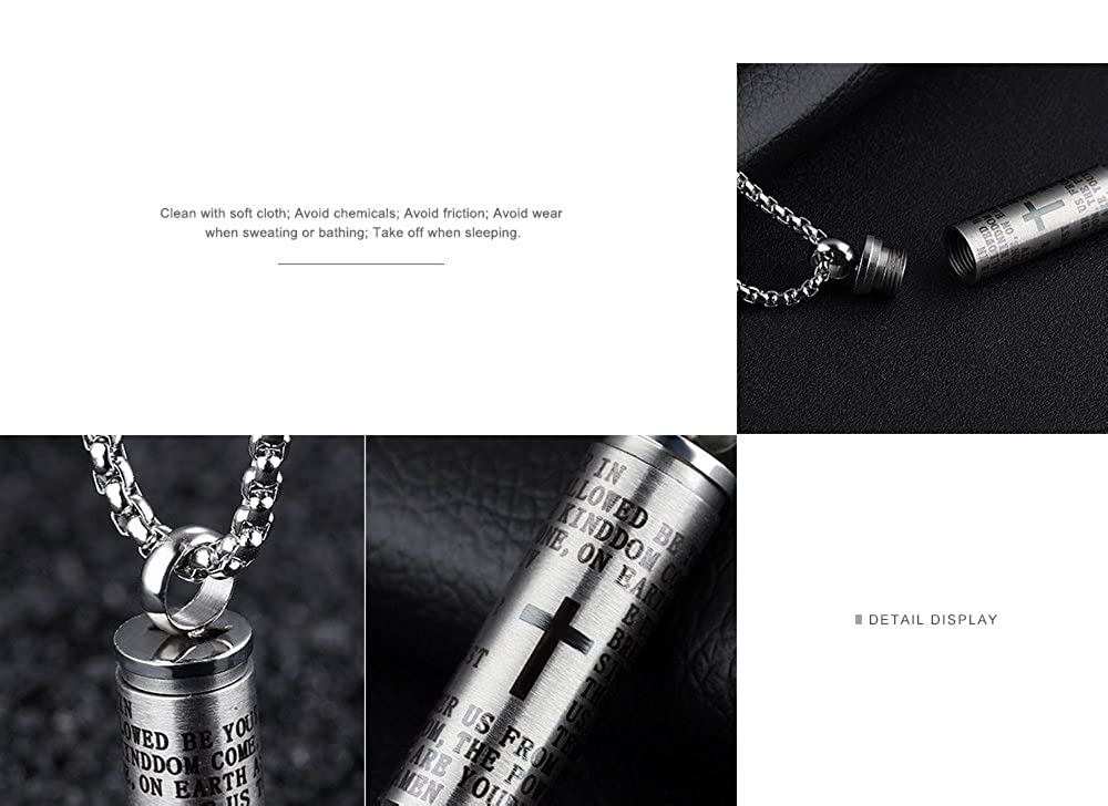 Ubeauty1999 Personality Stainless Steel Bullet Pendant Lords Prayer in English Cross Urn Ashes Keepsake Necklace Cremation Jewelry for Ashes