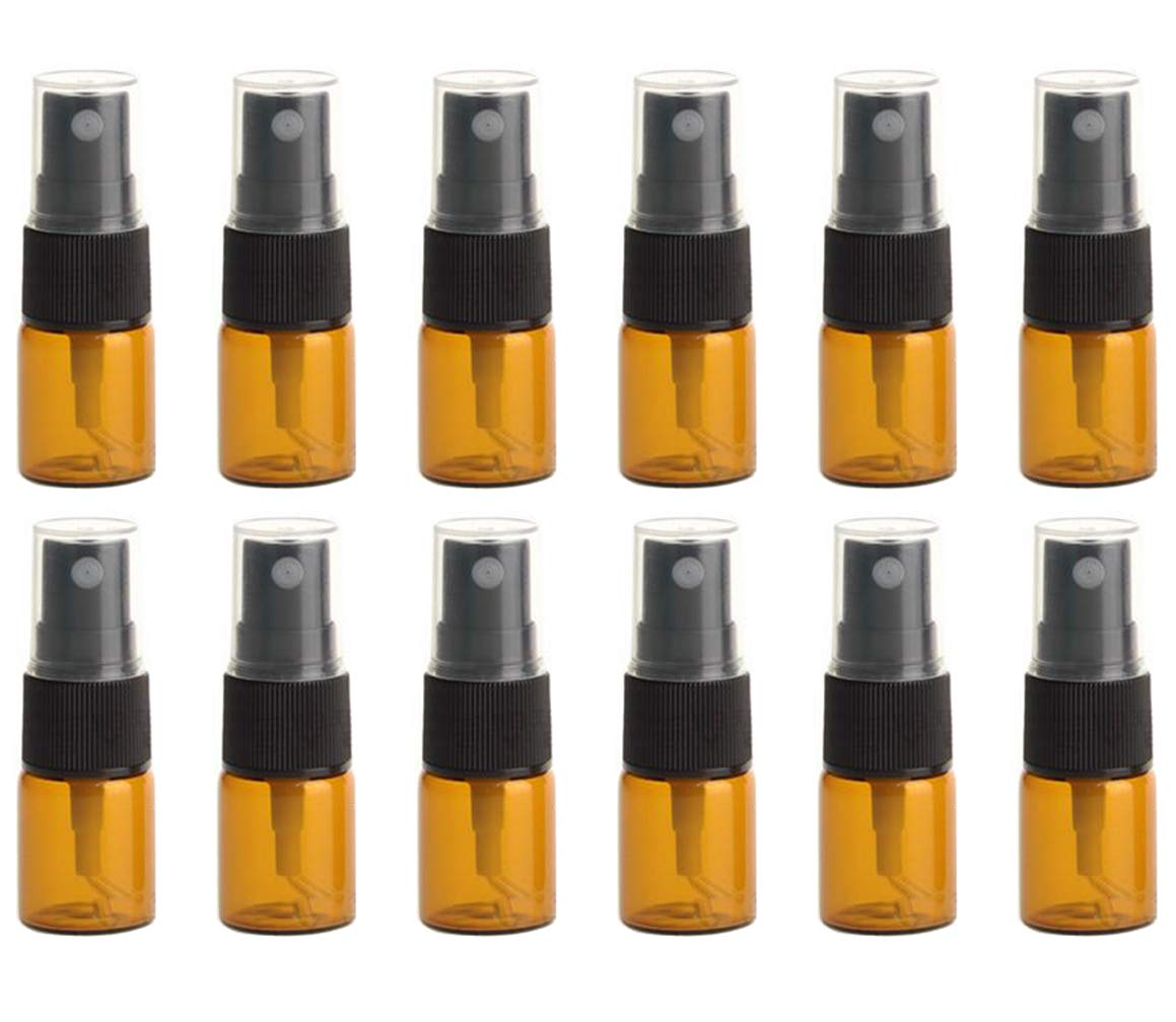 12PCS Amber Empty Refill Glass Spray Vial Bottle Jar Pots with Black Nozzle and Clear Cap Makeup Water Perfume Cosmetic Sample Packing Storage Container Fine Mist Sprayers Atomizers(10ml/0.34oz) Upstore
