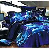 3D EFFECT IMAGES 4 PIECES COMPLETE BEDDING SET DOLPHIN 205 DESIGN 1 DUVET COVER 1 FITTED SHEET 2 PILLOW CASES SIZES SINGLE DOUBLE KING SUPER KING (Double, 205)