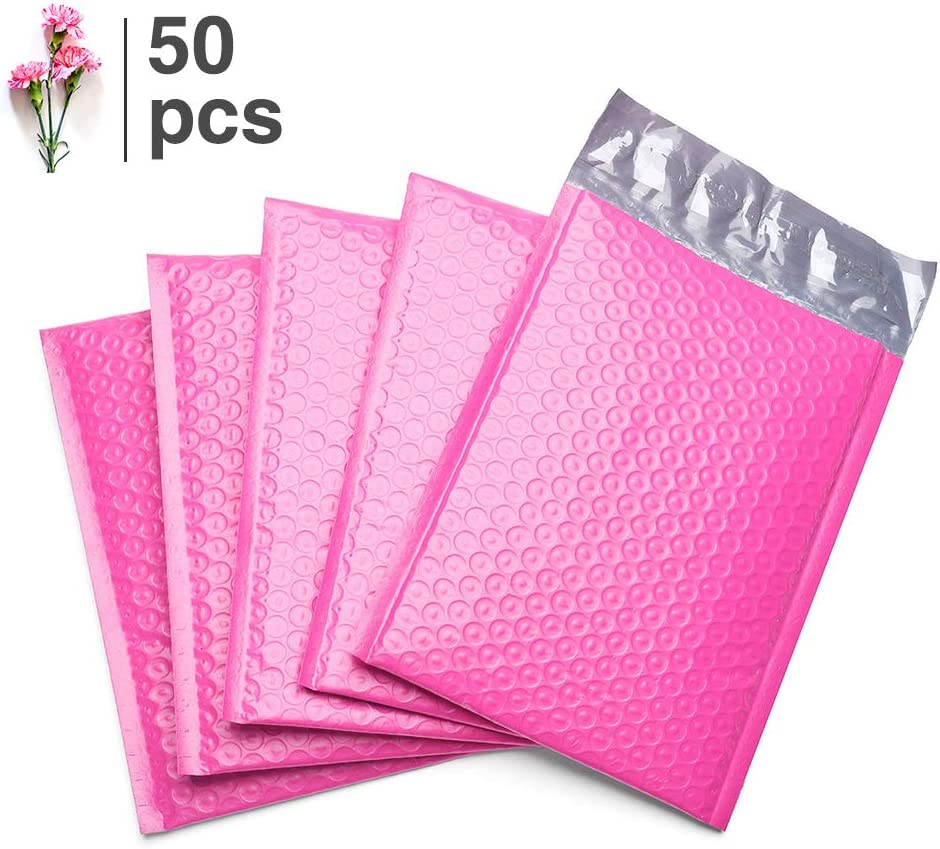 50 pcs Pink Poly Bubble Padded Envelopes Self-Sealing Mailers 4X8 Inner 4x7