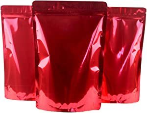 12PCS Double-Sided Metallic Foil Flat Mylar Zipper Lock Bags Zipper Pouch Stand Up Food Storage Bag for Candy Cookie Snack Tea Wedding Favor Xmas Gift Bag (6.3'' x 10.2'')