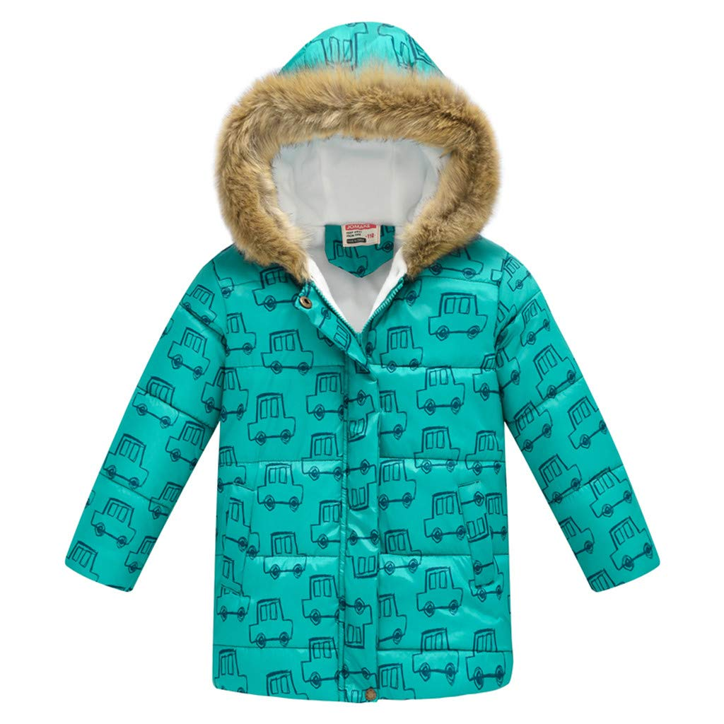 Kid Girl Simple Solid Hooded Thick Winter Parka Mid Long Duck Down Puffer Padded Jacket Overcoat with Fur Trim by Yuege Baby Clothes