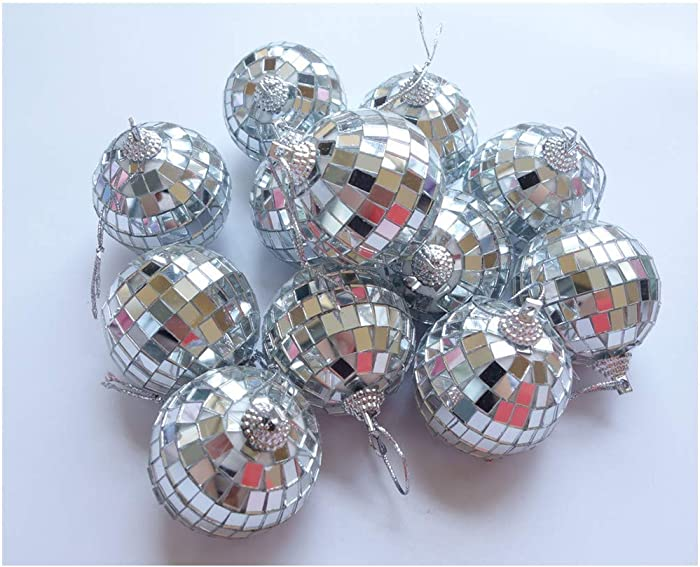 HAMIYELL 12 Pcs 2 Inch Disco Ball Decoration Hanging Mirror Ornament Bar Party Wedding Christmas Xmas Tree Decorations