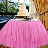 AerWo 3pcs x Pink Tutu Table Skirts, 30 by 39 inch, Baby Shower Party Baby 1st Birthday Snowflake Wonderland Theme Decorations for Table Decoration