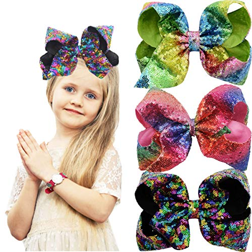 Large 8 Inch Hair Bows for Girls Sparkly Glitter Sequin Hair Bows Alligator Hair Clips Rainbow Hair Bows for Girls Toddlers Kids Teens Senior Pack Of 3