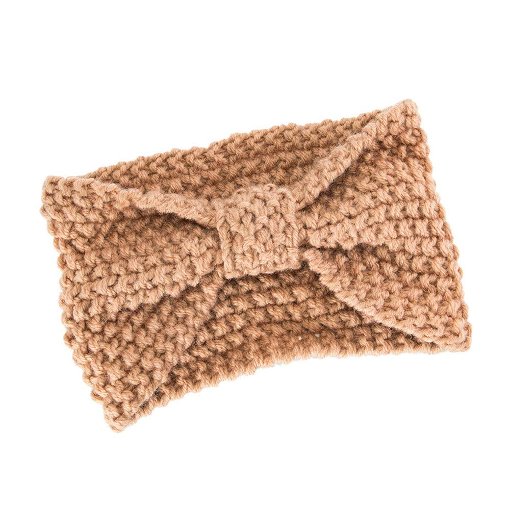 Seamount Womens Headwear Hair Ball Knitting HairBand,Retro Tie Handmade Bow Warmer Winter Head Wrap (Khaki)