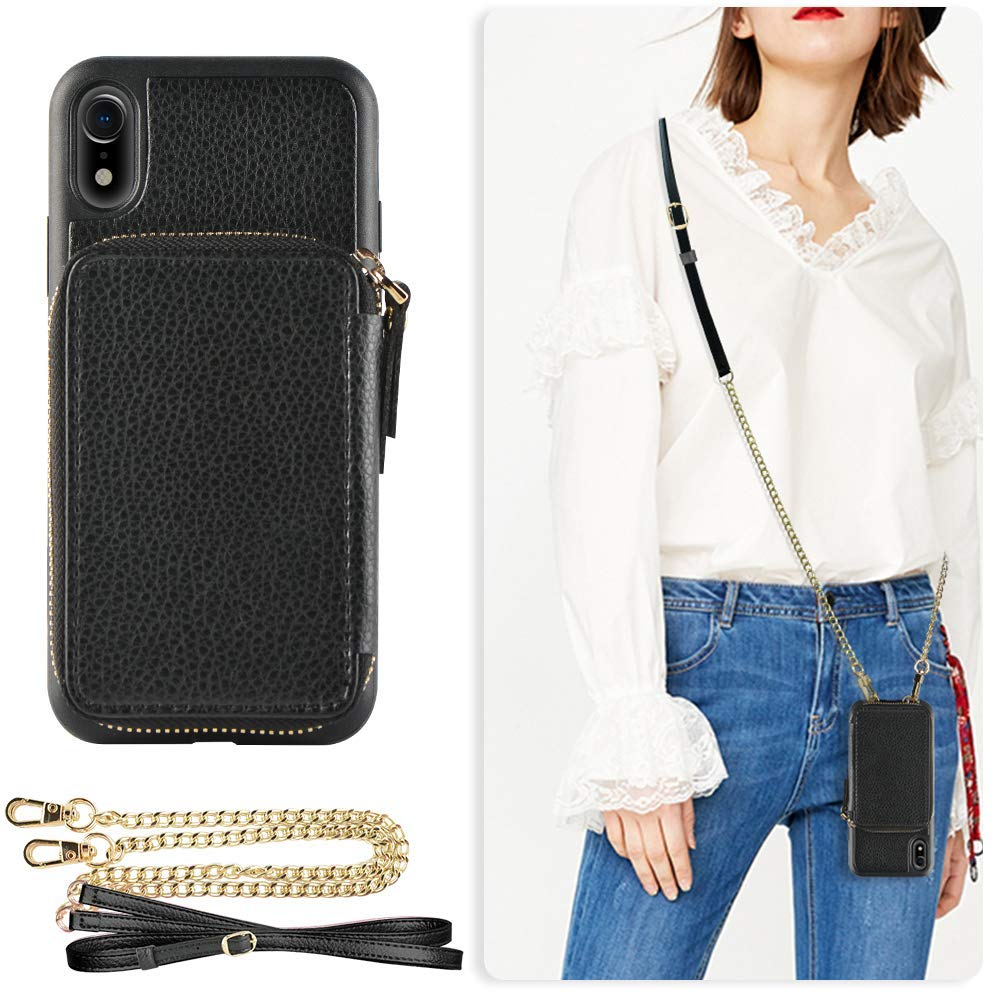 ZVE Case for Apple iPhone XR, 6.1 inch, Wallet Case with Crossbody Chain Credit Card Holder Slot Handbag Purse Wrist Zipper Strap Case Cover for Apple iPhone XR 6.1 inch - Black by ZVE