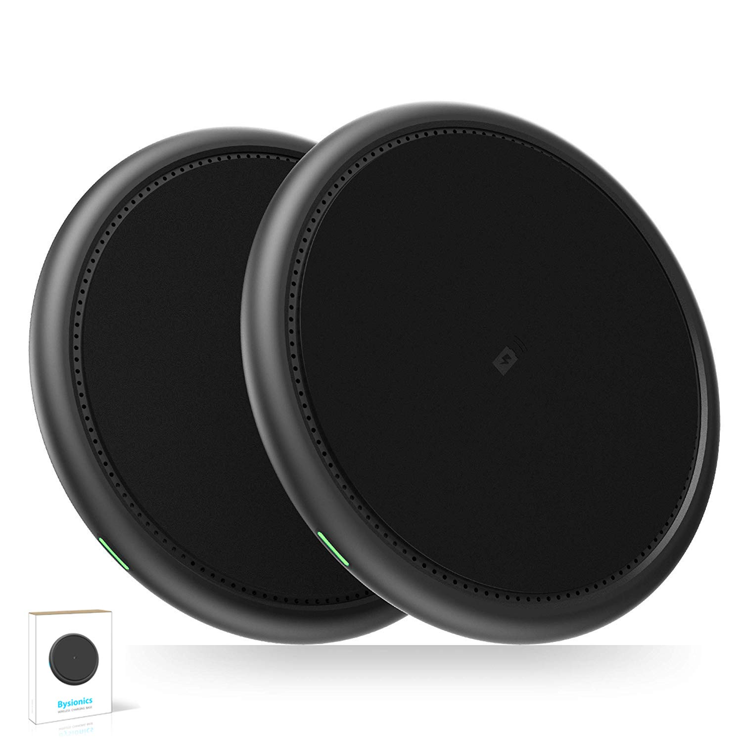 Bysionics Wireless Charger,2 Pack 10W Wireless Charging Compatible with iPhone Xs/XS MAX/XR/X/8/8Plus,Galaxy S7/S8/S9, and More [No AC Adapter] (Black) by Bysionics