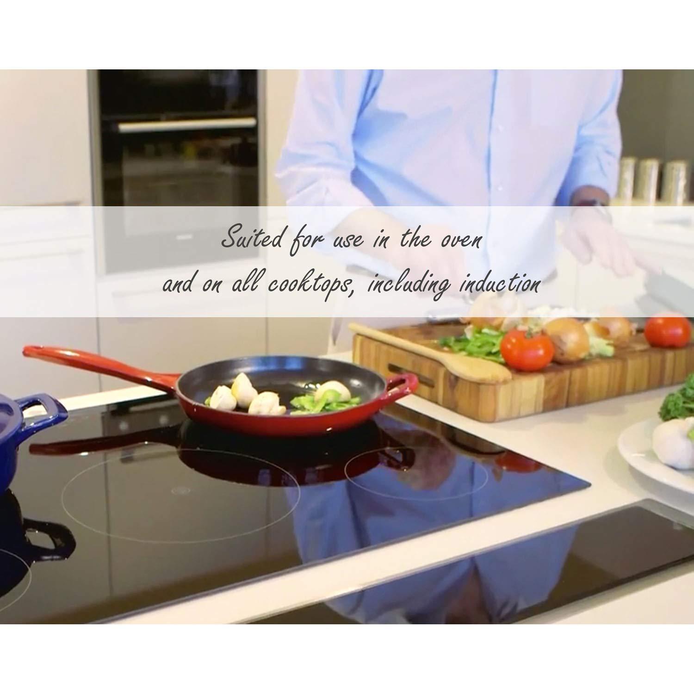 La Cuisine LC 2380 Casserole Set with Enamel Finish, White 4 Pc. Round Cast Iron, 4-piece,