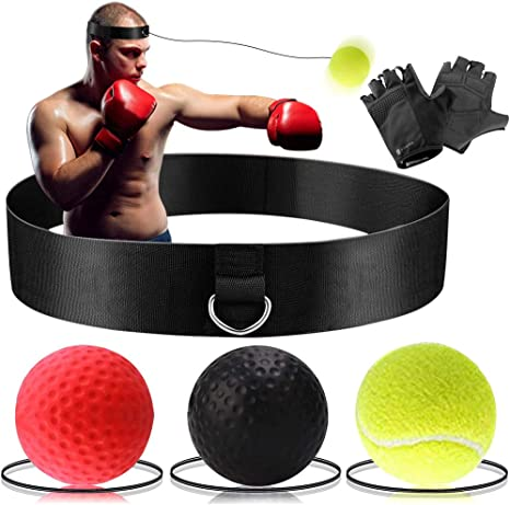 Fight Skill and Hand Eye Coordination Training Softer Than Tennis Ball 2//3//4 Different Boxing Ball with Headband Perfect for Reaction TEKXYZ Boxing Reflex Ball Punching Speed Agility