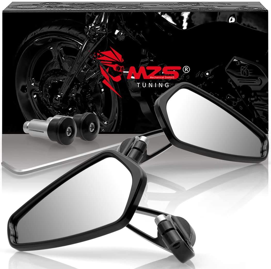 MZS Motorcycle Bar End Mirrors Rear View Side 7/8 Black Compatible with GROM MSX125 CB500F Z125 pro Z650 Z750 Z800 Z900 MT-03 MT-07 FZ-07 MT-09 FZ-09 MT-10 FZ-10 MT-25 FZ6 FZ8 FZ6R SV650 SV1000