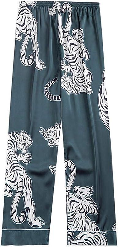 Mens Home Silk Satin Pajamas Pyjamas Pants Printed Bottoms Nightwear Sleepwear