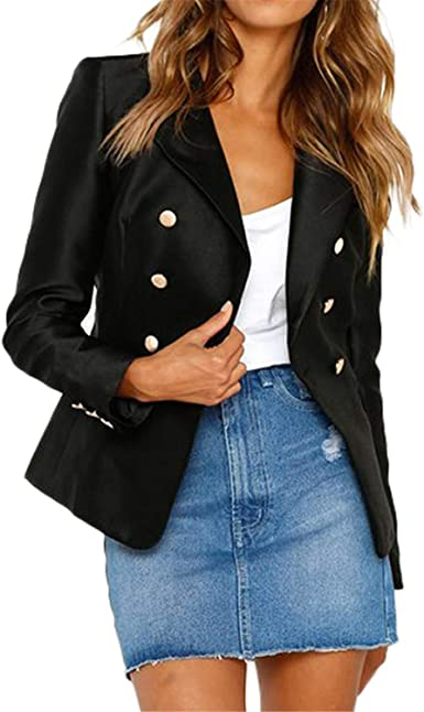 Spring Autumn Women Blazer Double-Breasted Button Notched Collar OL Work Office Suits Outwear