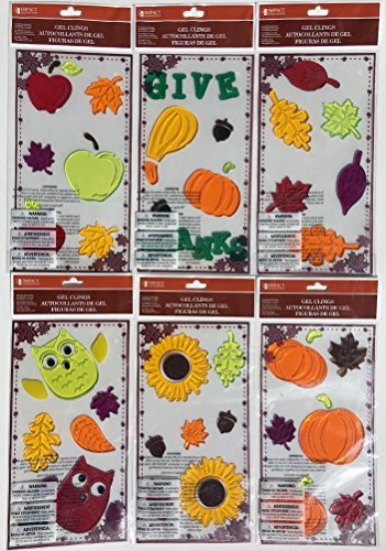 Give Thanks Harvest - Give Thanks! Fall Harvest Gel Clings, 6 Sheets!