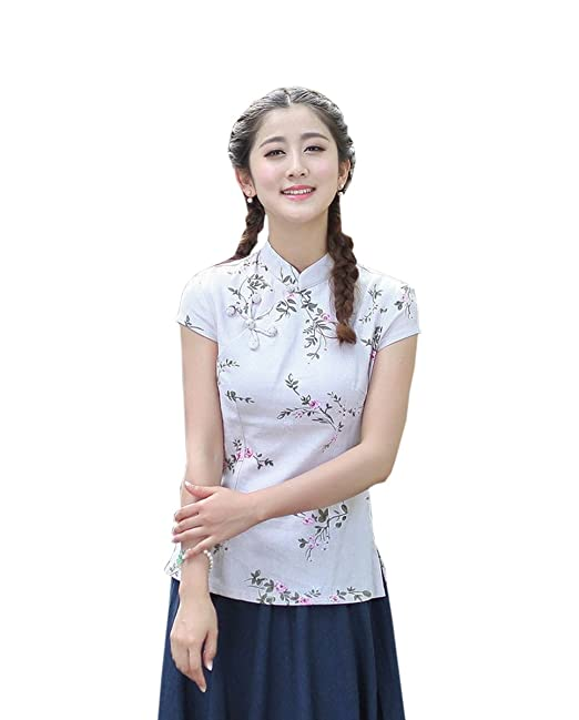 YueLian Mujeres Elegante Retro Manga Corta Patrón Floral Talla 36-44 Traje chino Blusas Chinas