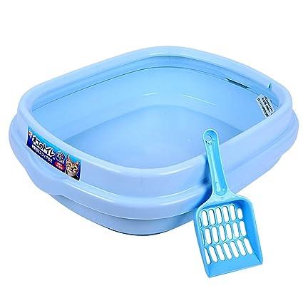 Caja de Arena para Gatos Medio Cerrado Gato WC Plástico Medio Ambiente Prevención de Salpicaduras Gato