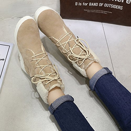 Khaki Single Lace High Women Up Shoes Zipper Top Leisure Sneakers JERFER 35 White Flat Shoes 40 Black Shoes Leather UgBXPB