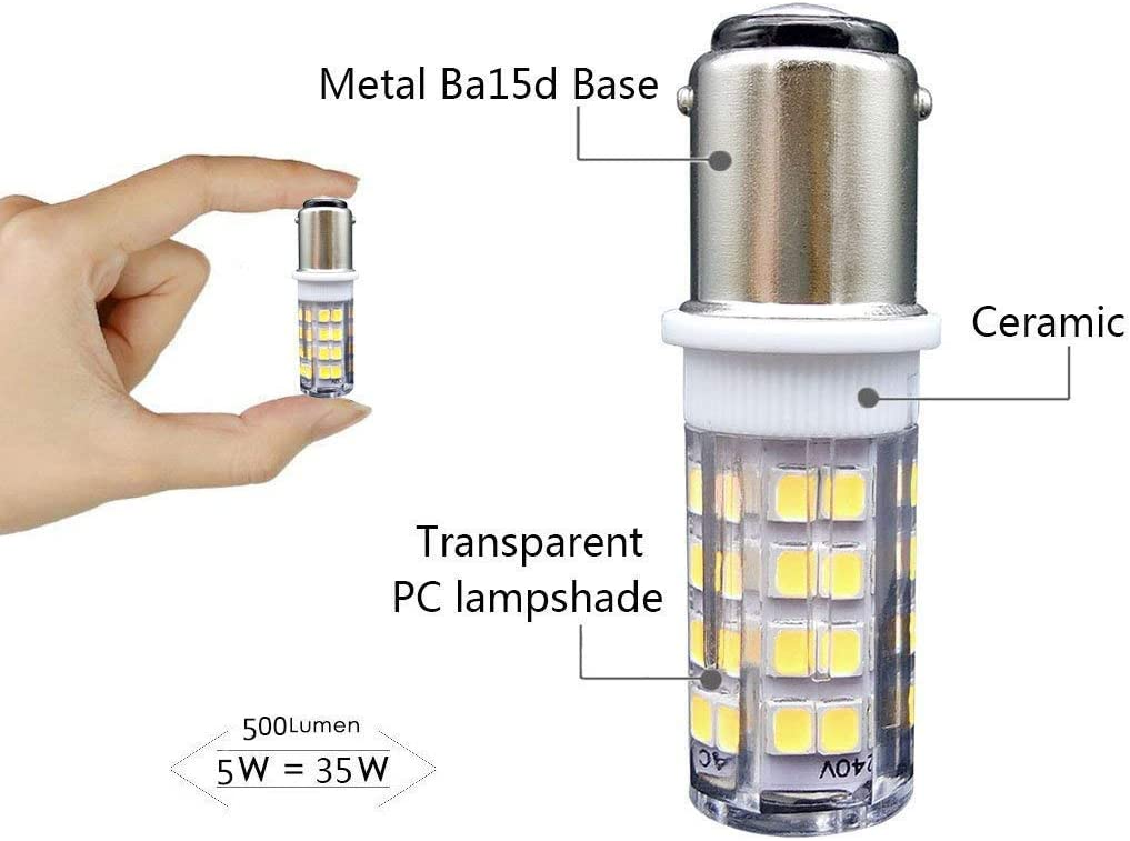 Ba15d LED Lámpara 5W AC 220V, SBC Bayoneta Bombilla Doble Contacto, Blanco Fresco 6000K 500 lúmenes – Reemplazo de 35W Halógena, para Máquina coser Lámpara Lighting (2-Packs): Amazon.es: Iluminación