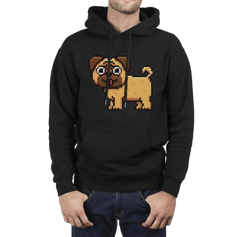 Rjodosa Fuzzy Pug Black Hoodie Sweatshirt for Men Casual Fleece Warm Pullover