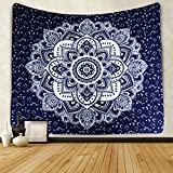 IceJazz Mandala Tapestry Wall Hanging Dark Blue & White Psychedelic Tapestry Wall Art Floral Decorative for Bedroom Living Room 59x83 Inches