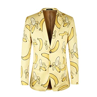 Hombres Chaquetas De Traje Banana Print Single Row Two ...