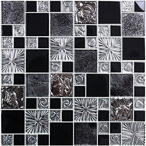 HYH 8mm Thickness Electroplated Glass Mesh-mounted Mosaic Tile Sheet for Kitchen Backsplash Bathroom Wall and Swimming Pool 12 In. X 12 In.(SH0040) Sample Mosaic 12x12 Sheet