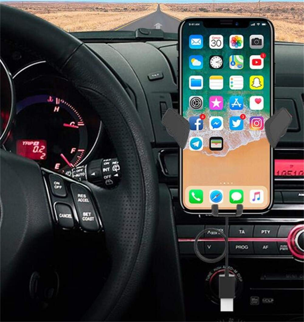 Maoblog Qi Fast Wireless Car Charger Mount Air Vent Dashboard Windshield Gravity Long Arm Holder with Charging Cable 10W for iPhone Xs Max XR X 8 7 Plus Galaxy S9 S8 Plus Note 9 8 and More. Black