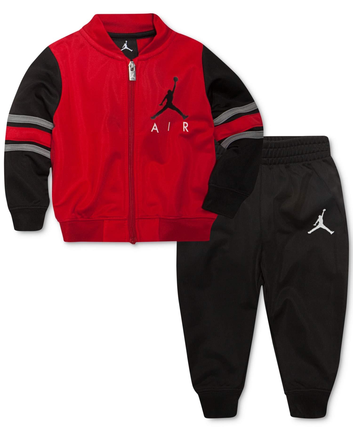 Jordan Nike Air Boys' Jacket Tracksuit Pants Outfit Track Set (Black/Gym Red, 4) by Jordan