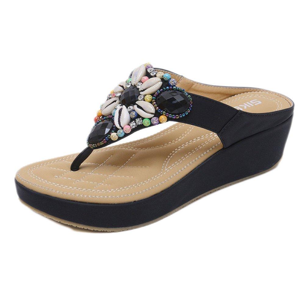 Damen Low Wedge Fit Flip Flop Toe Post Kristall Sandalen Schuhe  40 EU|Black