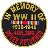 world war 2 patches - In Memory Of World War WW II 2 Round Embroidered Iron-On Patch - 3x3 inch Shipped from USA