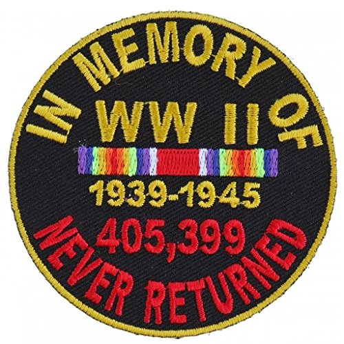 In Memory Of World War WW II 2 Round Embroidered Iron-On Patch - 3x3 inch Shipped from USA ()