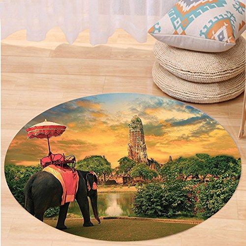 Kisscase Custom carpetElephants Decor Elephant Dressing With Thai Kingdom Tradition Accessories Pagoda In Ayuthaya Bedroom Living Room Dorm Decor by kisscase