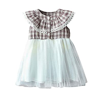 d3593135935ae Moneycom Bambin Enfants bébé Filles Tenues vêtements Plaid Tulle mer Robes  de Princesse Partie Mariage Tenues