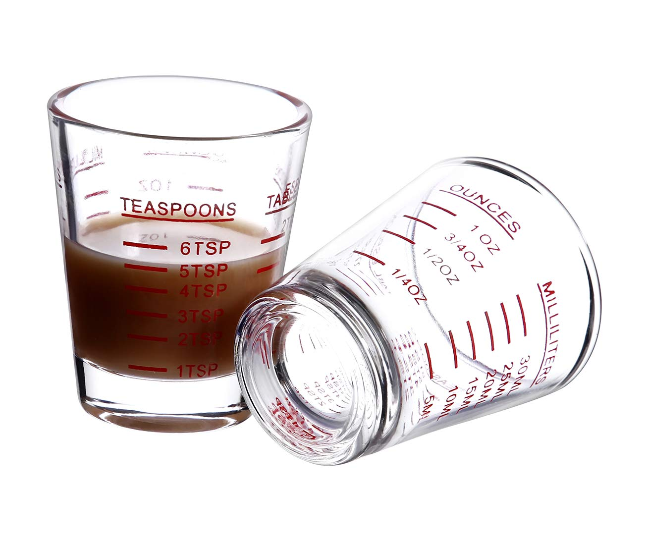 Shot Glasses Measuring cup Espresso Shot Glass Liquid Heavy Glass Wine Glass 26-Incremental Measurement 1oz, 6 Tsp, 2…