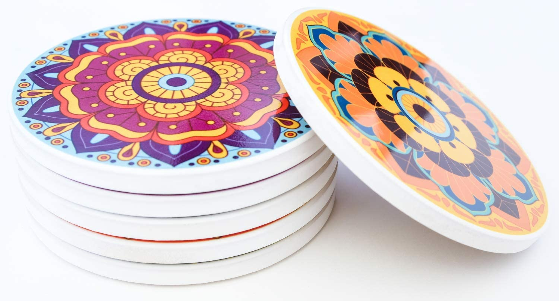 N//A 6 Untersetzer//Glasierte Keramik//Florales Mandala-Design Aus Venezuela//rutschfest