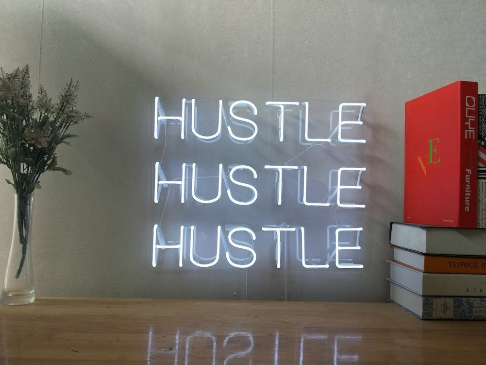Hustle Hustle Hustle Real Glass Neon Sign For Bedroom Garage Bar Man Cave Room Home Decor Handmade Artwork Visual Art Dimmable Wall Lighting Includes Dimmer