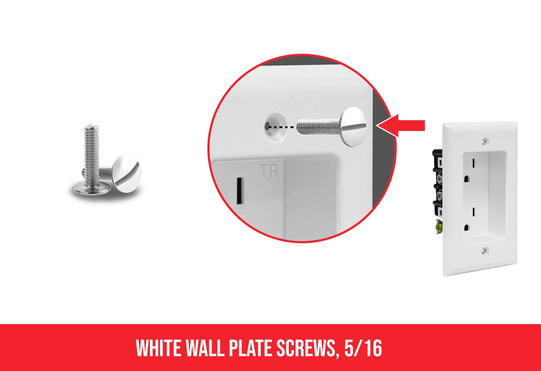 White Wallplate Screws, 5/16'', (100)
