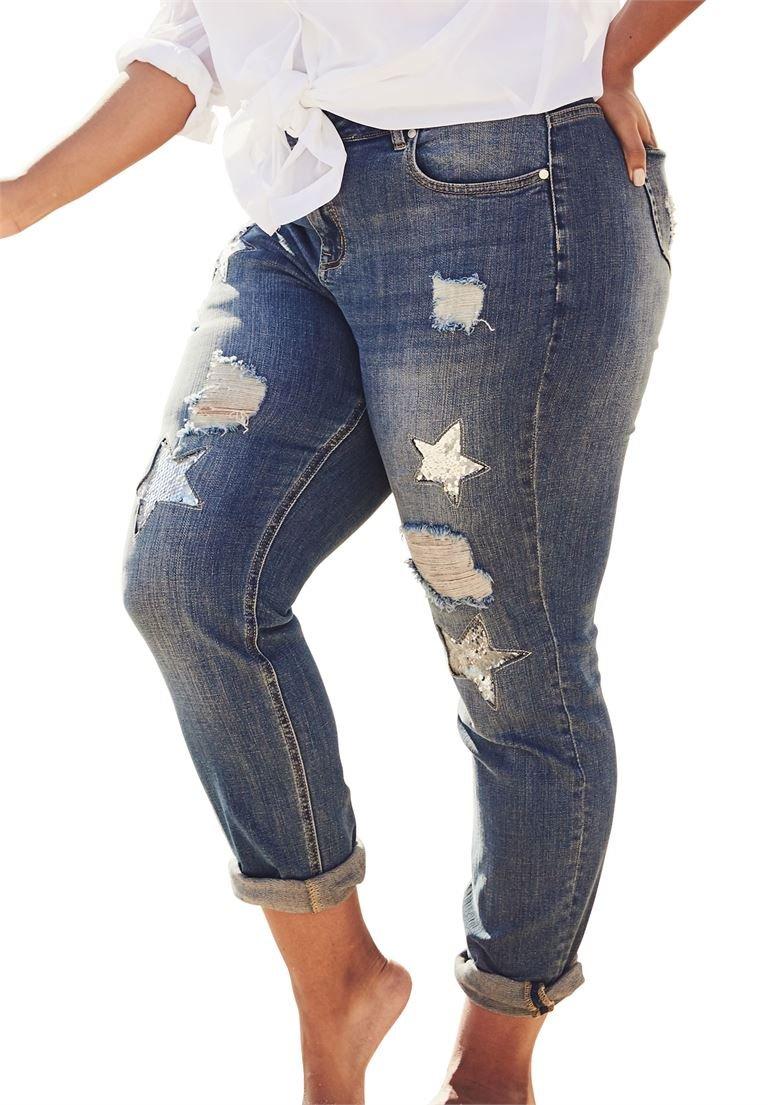 Women's Plus Size Sequin Star Jean Dark Wash,32 W