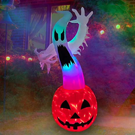 Amazon.com: SEASONBLOW 6 FT Halloween Inflatable Ghost on Pumpkin with Color Changing LED Lighted Airblown Blow Up Decoration for Lawn Yard Garden Outdoor Holiday Decor: Garden & Outdoor