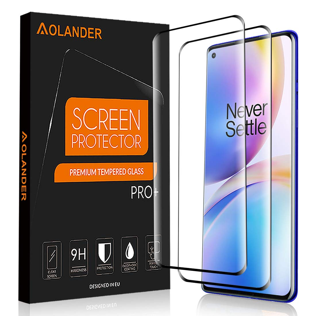 [2-Pack]AOLANDER Screen Protector for Oneplus 8 Pro,1+8 Pro,[3D Full Coverage][Anti-Scratch][Anti-Fingerprint][Bubble Free] Tempered Glass Screen Protector (Black)