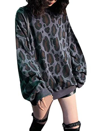 Luckycat Moda Mujer Estampado de Leopardo Manga Larga fácil Blusa Sudadera Tops