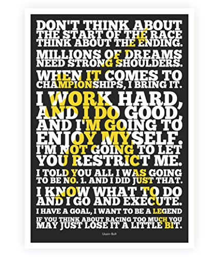 Usain Bolt Sport Famous Inspirational Quotes Poster In A3