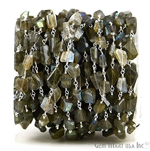 Wholesale AAA Quality Labradorite Fancy Cut Beads Silver Plated Wire Wrapped Rosary Chain (SPLB-30042)