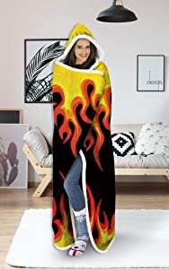 uideazone Wearable Hooded Blanket Hood Poncho Cloak Cape Funny 3D Colorful Smoke Flame Print Men Women Cozy Throw Sherpa Fleece Soft Warm Winter Novelty Blanket for Sofa Home Watching TV 60X80 Inch