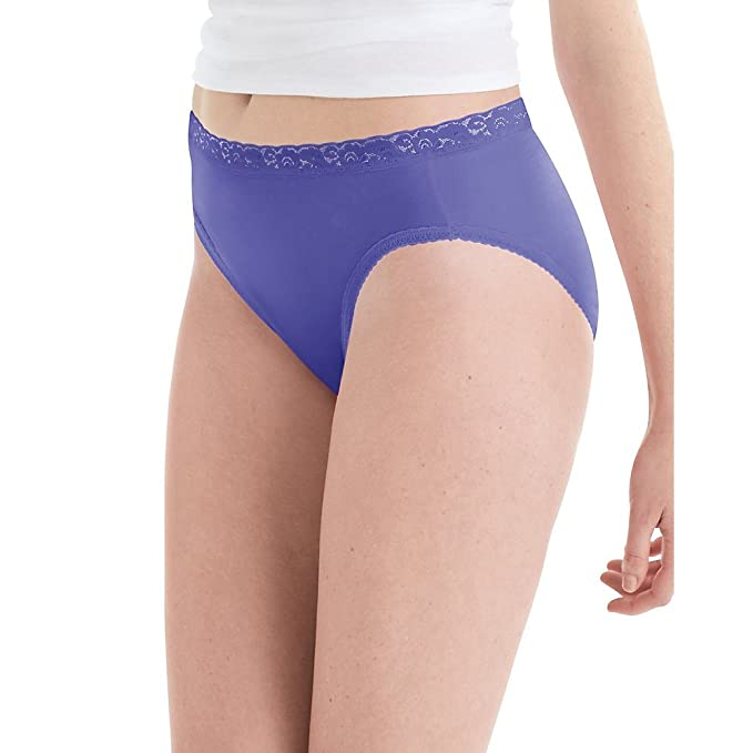 f5fa18a5b656 Hanes Women's Nylon Hi-Cut Panties 6-Pack at Amazon Women's Clothing ...