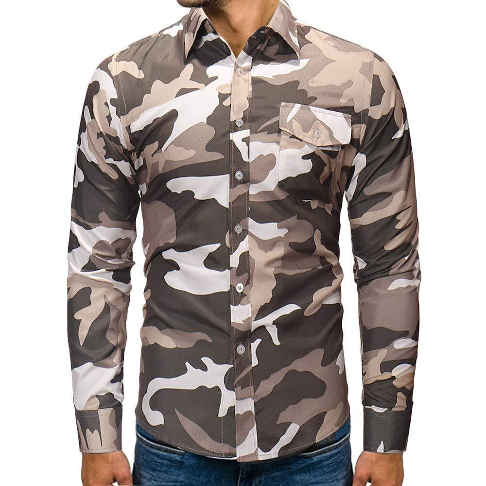 Yumso Chemise DéContractéE à Manches Longues pour Hommes - Automne-Hiver - Camouflage - Poche Homme T-Shirts Col Rond Slim Courtes à la Tops Classique Chemise